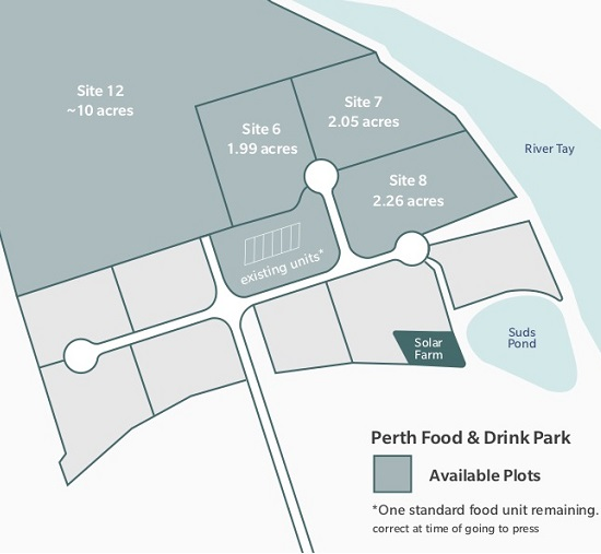 This is a blue and grey map image of with site descriptions, of the Perth Food & Drink Park.