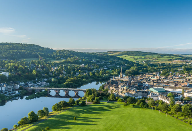 Aerial view of Perth Scotland