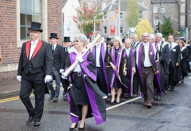 This is an image of the Perth College UHI graduation procession.