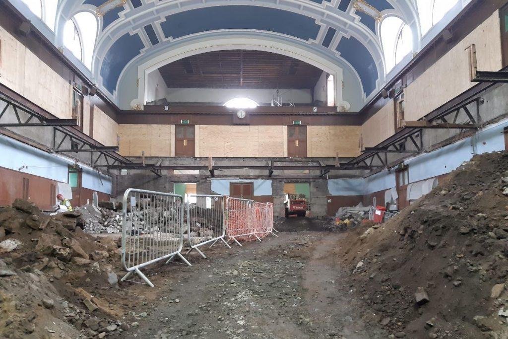 Interior construction site of Perth City Hall.